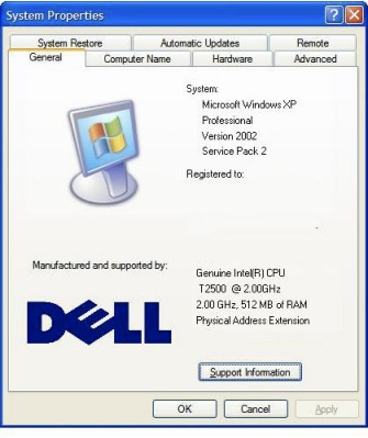 windows system properties before customization