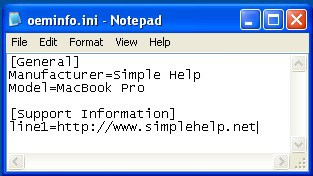 notepad with custom info for system properties