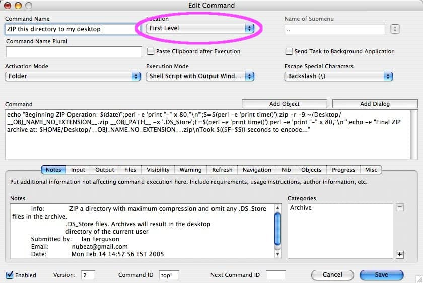 How to add commands to the OS X
