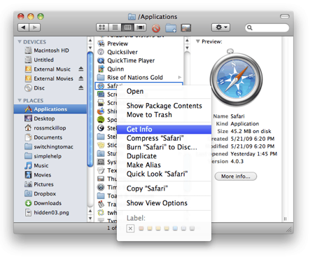 right-clicking a program in OS X