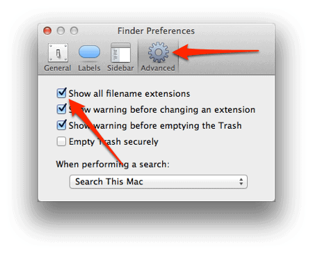 advanced section of the finder preferences