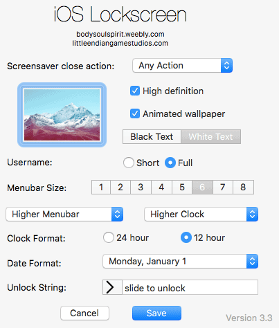the ios lockscreen screen saver options
