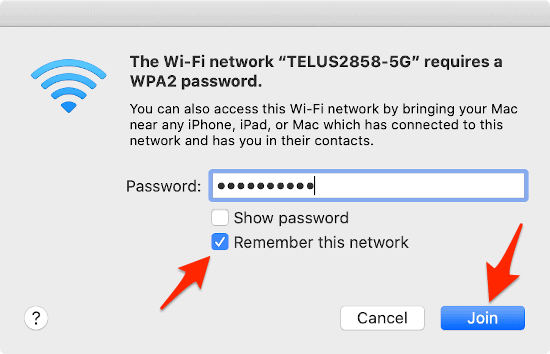 enter password to connect a mac to a wireless network