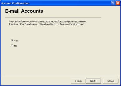 set up Outlook XP 2002
