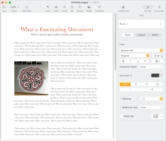 a document open in Pages for macOS