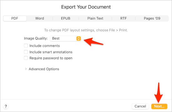 the Export Your Document panel in Pages for macOS with PDF selected