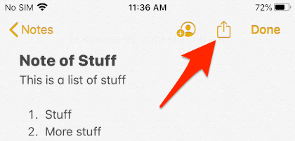 ios notes app with arrow pointing to Share button
