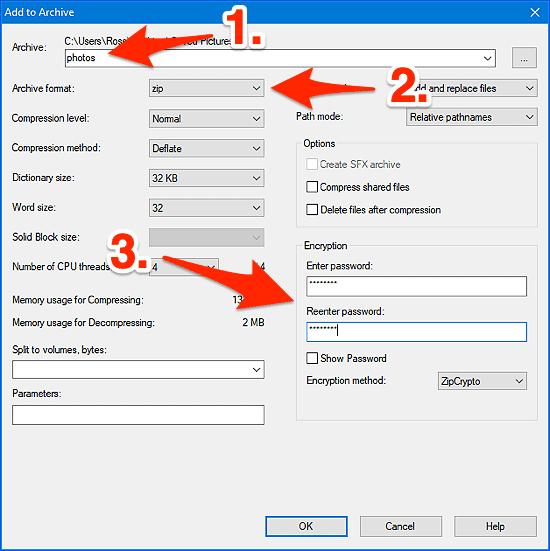 Opciones de configuración de 7 zip
