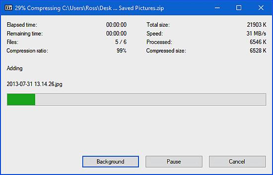 7-zip compressing files
