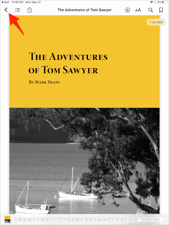 a PDF in Books with an arrow pointing at the Back button
