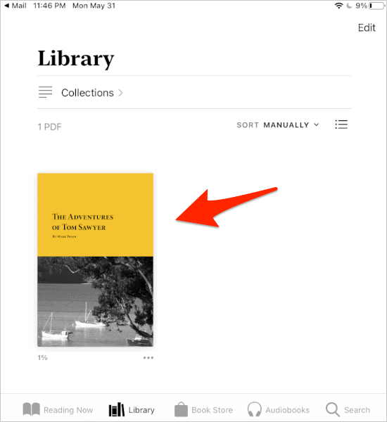 a PDF added to the Books Library