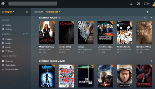 the main Plex web interface