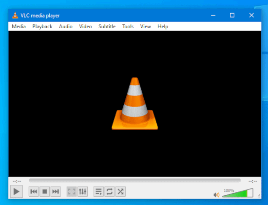 a portable version of VLC running in Windows