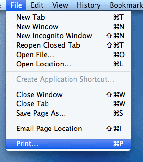 os x print menu
