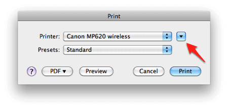 an arrow pointing to a menu named Printer