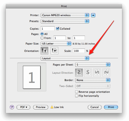 an arrow pointing to the Layout menu in the OS X Print menu