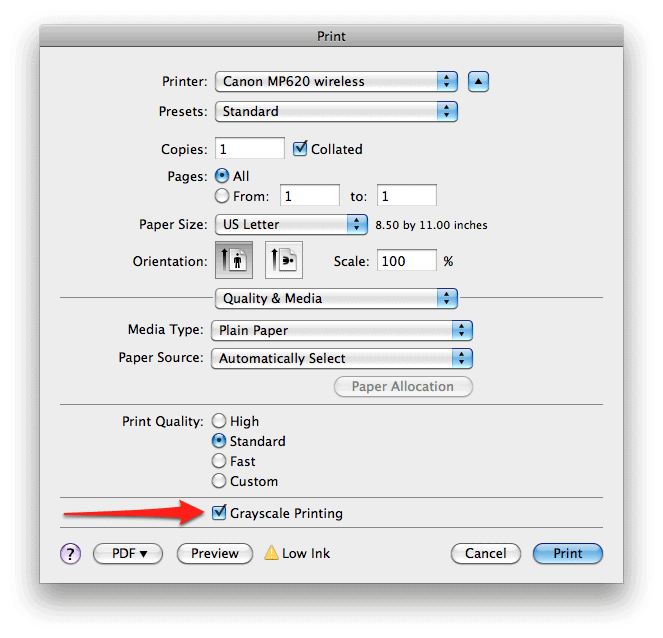 How To Exclude Colors When Printing In OS X