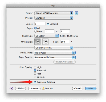 a box labeled Grayscale Printing in the Print dialog box in OS X