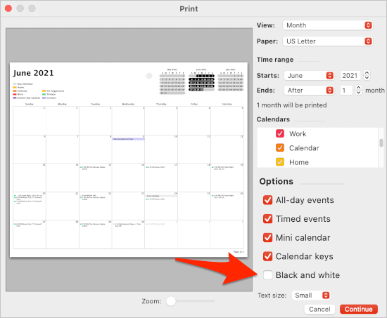 bring in black and white from the Calendar app in macOS