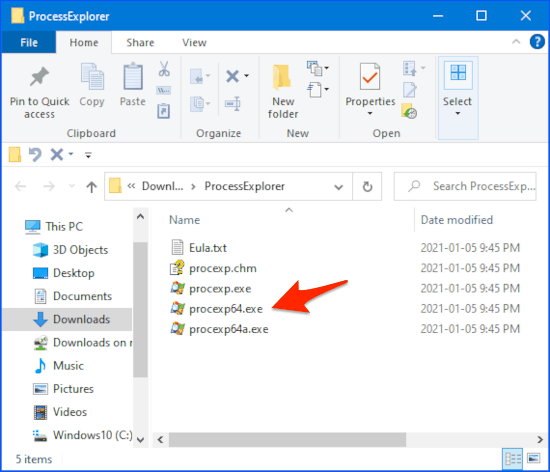 an arrow pointing at an exe file in Windows Explorer