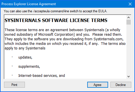 the license agreement for process explorer