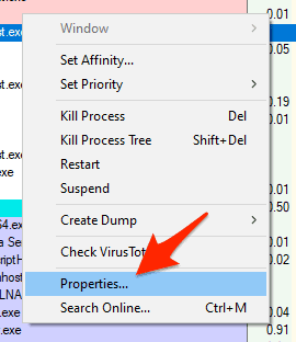 an arrow pointing to the properties line item in a context menu