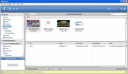 main Media Go backup PSP data window
