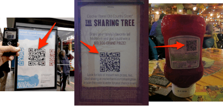 examples of QR codes being used in public places