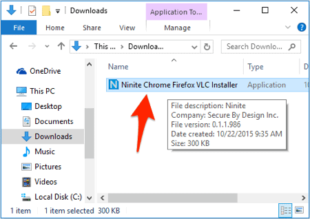 a Windows Explorer window with an arrow pointing to an exe file