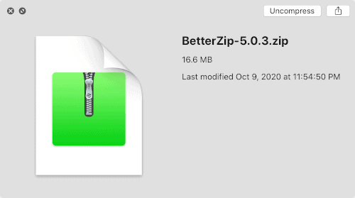 default Quick Look view of a zip file in macOS