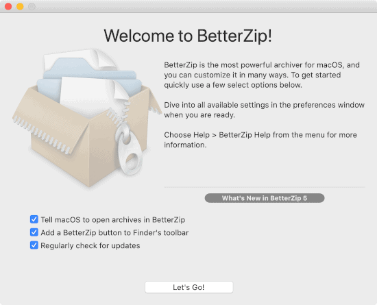 the BetterZip welcome window message