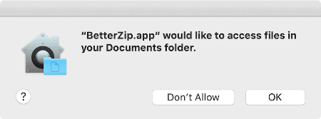 macOS prompt to allow access to the Documents folder