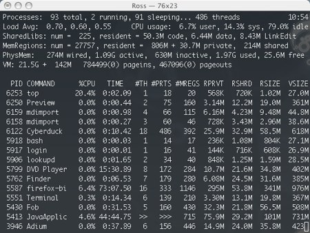 the top command in an osx terminal