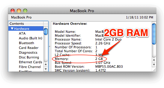the macOS System Profiler showing 2GB of RAM installed