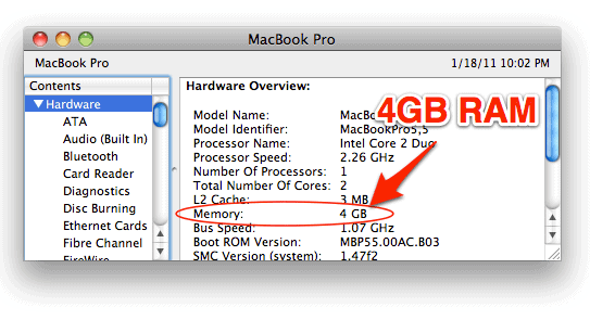 showing newly installed RAM on a Mac in the System Profiler