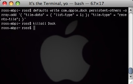 os x terminal with the line to add a recently used apps stack to your dock
