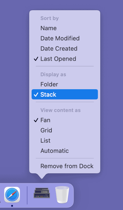 the context menu for a Stack in the macOS Dock