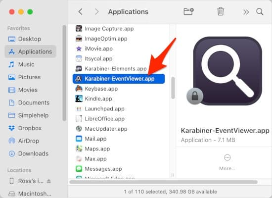 an arrow pointing to Karabiner-EventViewer.app in a Finder window