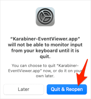 a Quit & Reopen message screen in macOS