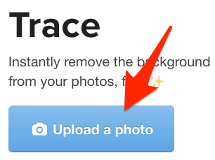 the upload a photo button for Trace
