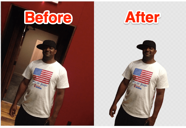 before and after photos of Terence Higgins with the background removed