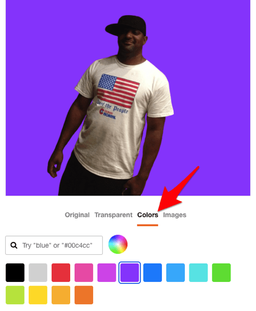 the add a background color to a photo feature in the Trace web service