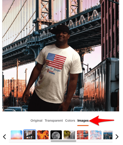 the add a photo background to an image feature in the Trace web service