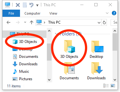 Explorador de archivos de Windows 10 con objetos 3D resaltados