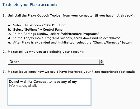 delete your plaxo account link