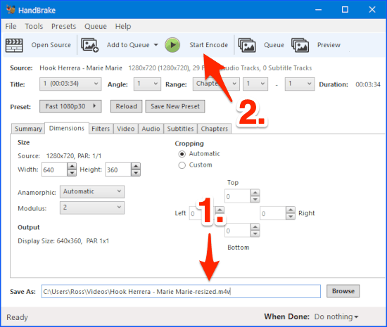an arrow pointing to a Start Encode button