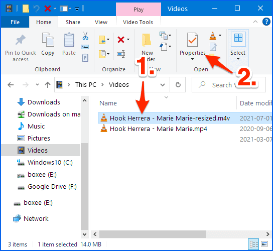 a File Explorer with a video that has been resized