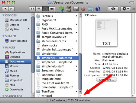 the os x finder double-lines