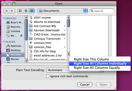 open dialogue box with column spacing options