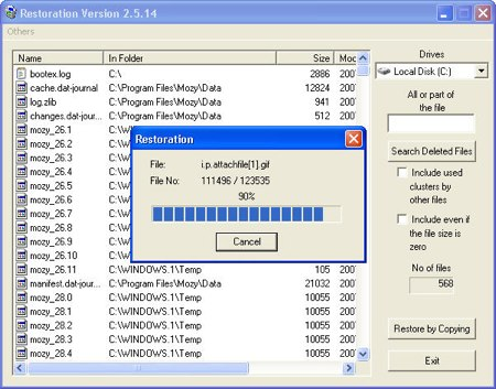 Restoration app recovering lost files in Windows